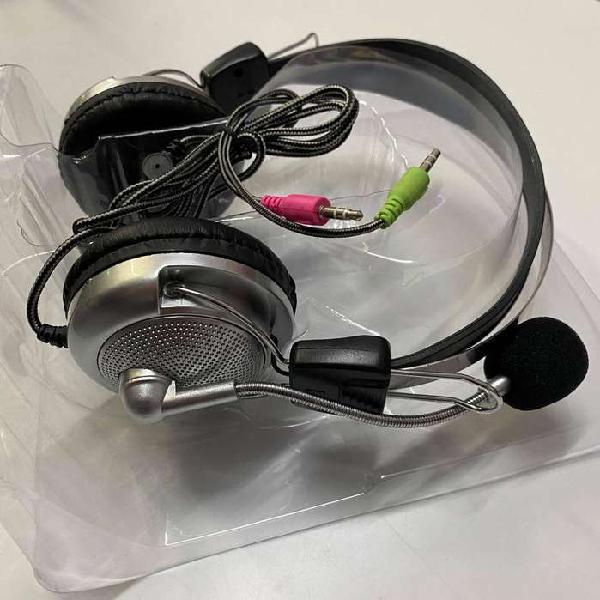 Auricular para pc microfono control de volumen vincha 3,5mm