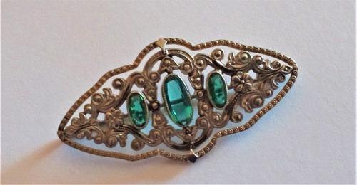 Broche prendedor antiguo. oro, platino y esmeraldas.