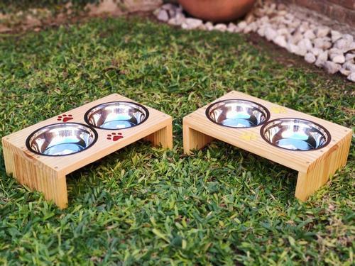 Comedero doble de madera para mascotas + bowl de acero