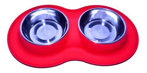Comedero/bebedero doble de silicona c/ bowl inox animal pet