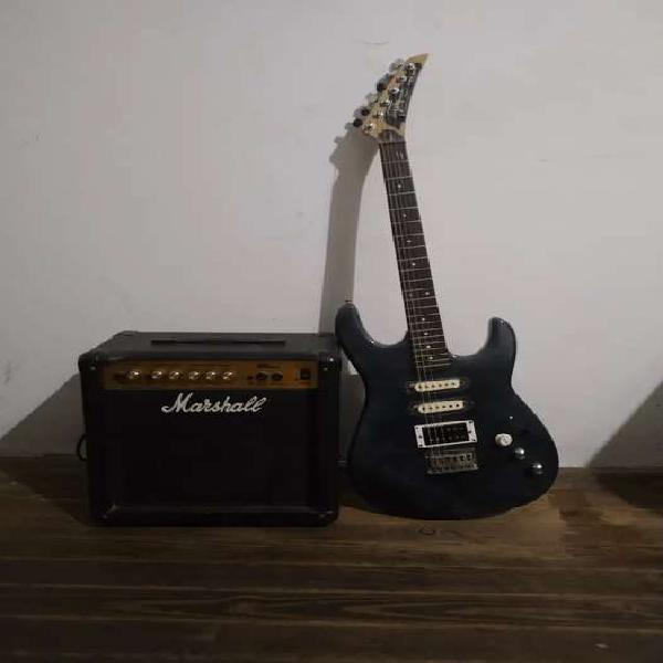 Guitarra faim y marshall mg 15