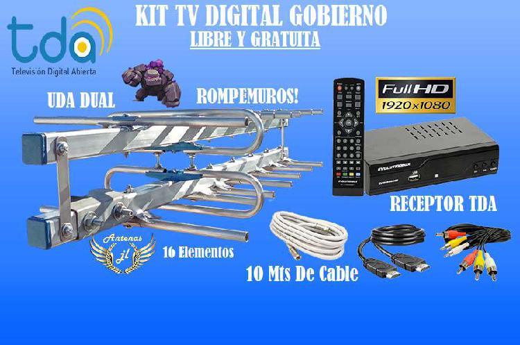 Kit tv digital, libre y gratu. antena 16 e, sinto tda, 10 m