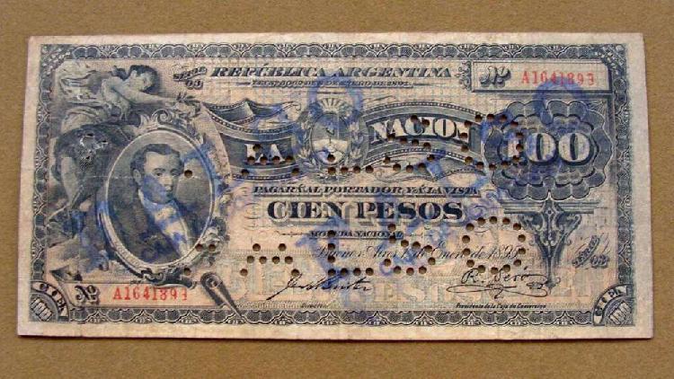 Billete de 100 pesos, argentina 1895 falso de época