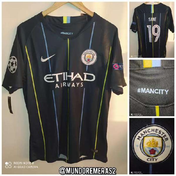 Camiseta manchester city suplente negra champions 2019 sané