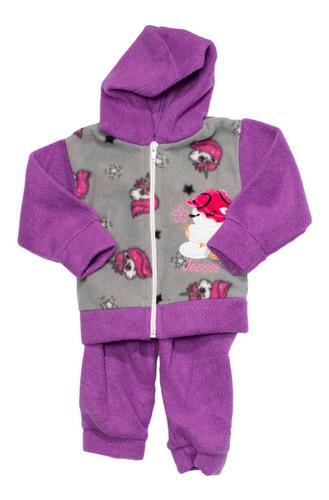 Conjunto campera c/capucha y pantalón tela polar bebés