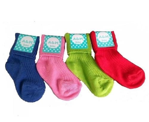 Medias para bebe recien nacido x docena colores