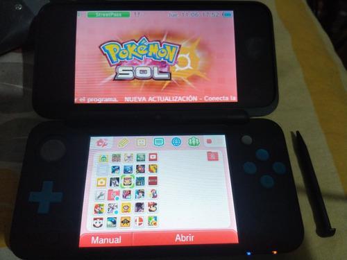 Nintendo 2ds xl flash en caja microsd 32g juegos/cargador