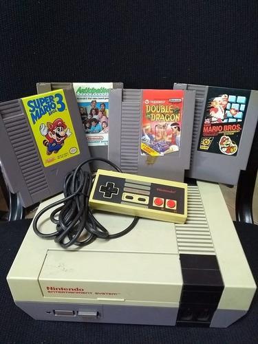 Nintendo nes original vintage c/juegos joystick mario bross