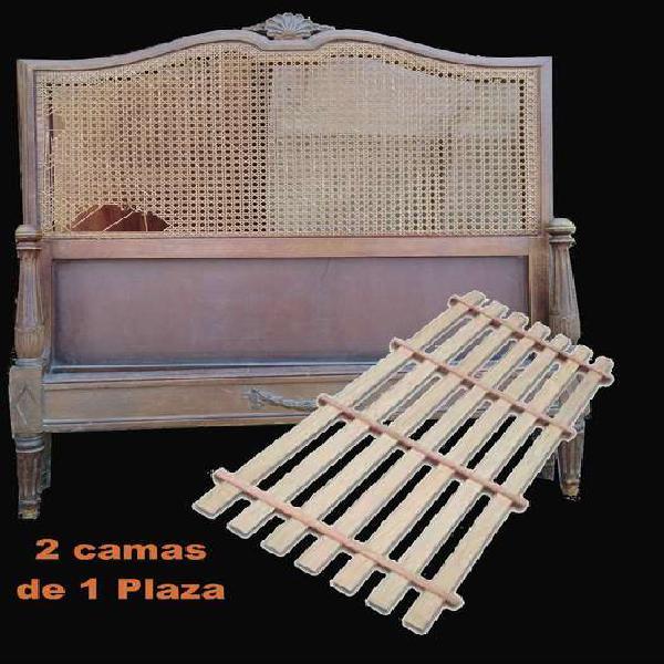2 camas de 1 plazas estilo frances luis xvi con estirilla.