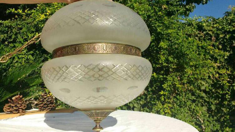 Globo colgante bronce y vidrio tallado