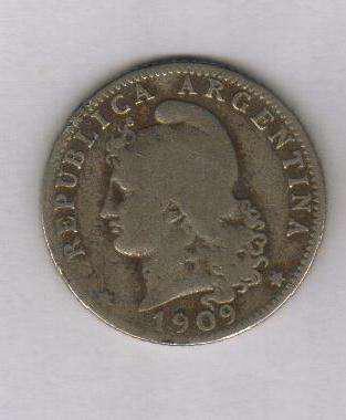 Moneda 20 centavos 1909 níquel, excelente