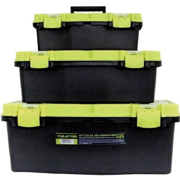 Set x 3 cajas klatter de herramientas todas con bandeja