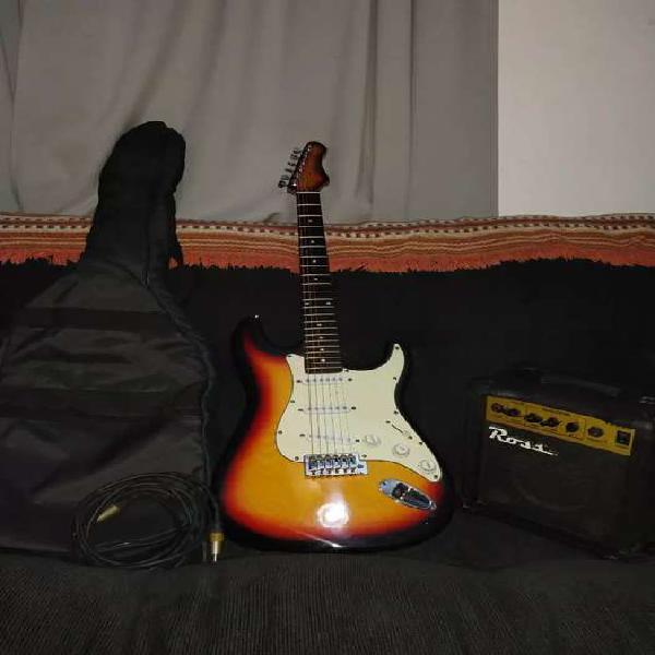 Guitarra electrica stratocaster texas + amplificador ross
