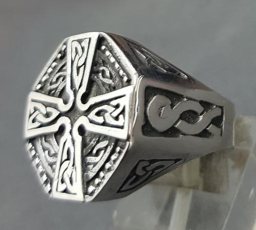 Anillo cruz de san patricio en plata 2 cm 13 gr art 822