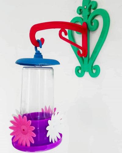 Bebedero comedero para colibrí picaflor aves con mensula