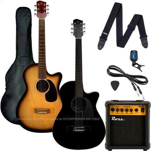 Guitarra Electroacustica Corte Ampli Accesorios Pack Premium
