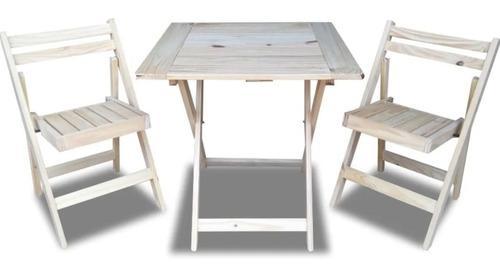 Mesa 75x75 + 2 silla plegable de madera pino - envio gratis