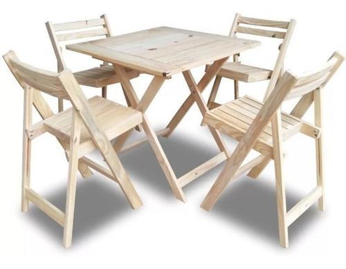 Mesa 75x75 + 4 silla plegable de madera pino - envio gratis