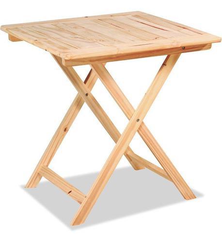 Mesa plegable 75x75 de madera pino bar (opcion sillas)
