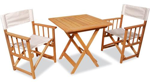 Mesa plegable madera euca 75x75 + 2 sillon director -envio