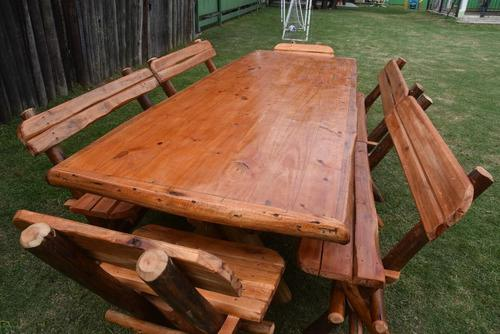 Mesa rustica 3.00 quincho de madera + 6 bancos eucaliptus