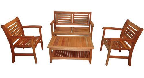 Set de living sillones + mesa ratona madera exterior jardín