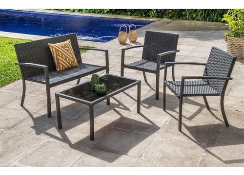 Set living jardín rattán acero 3 sillones mesa vidrio