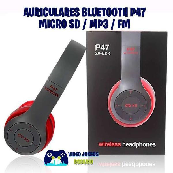 Auriculares bluetooth p47 micro sd/mp3/fm