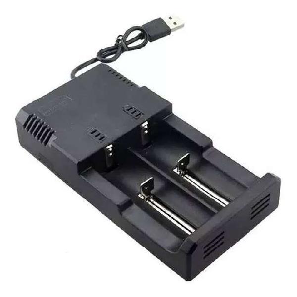 CARGADOR UNIVERSAL DOBLE DE PILAS BATERÍAS 18650 USB HONG