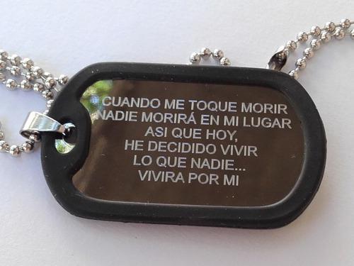 Chapita tipo militar dog tags identificación alerta médico