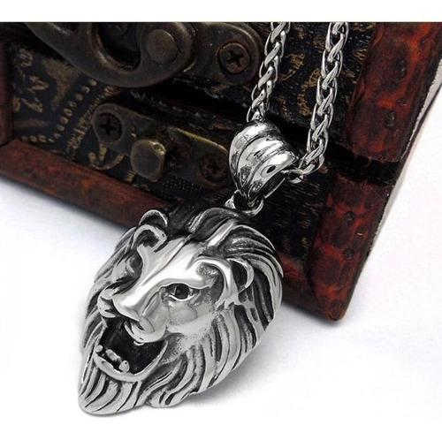 Collar acero hombre colgante dije leon macizo cadena 60 cm