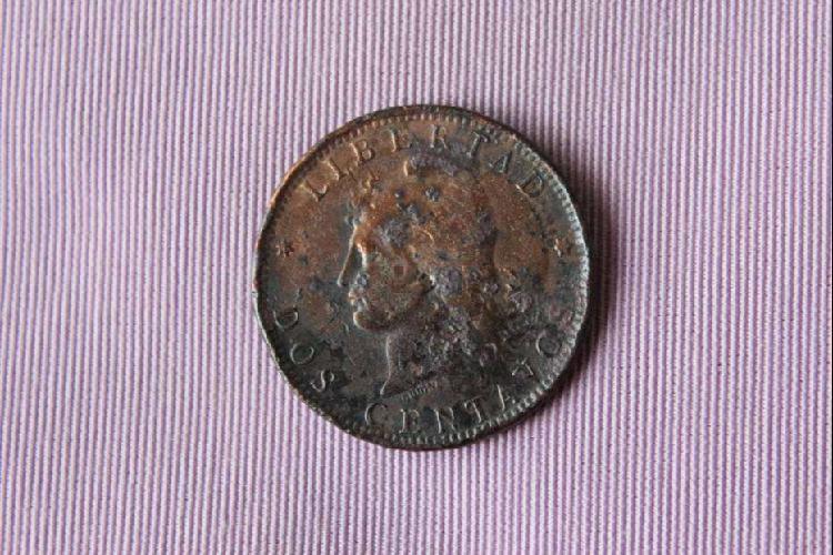 Moneda argentina, 1890, dos centavos, cobre