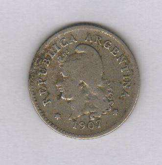 Moneda argentina 10 centavos año 1907 niquel muy buena