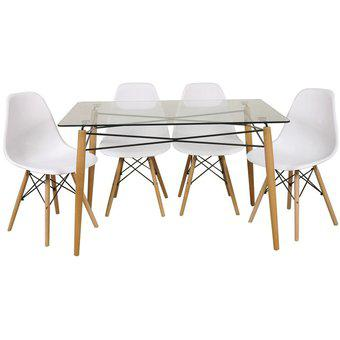 Set mesa eames + 4 sillas 1.40x80x75cm tapa vidrio patas
