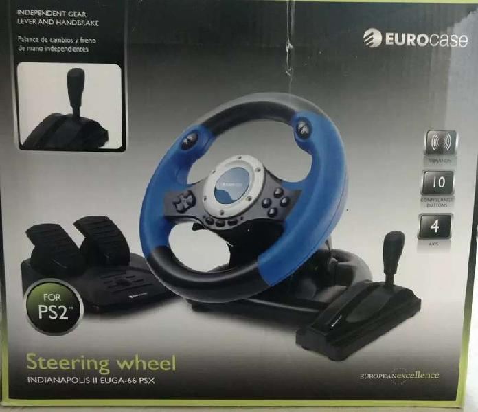 Volante EUROCASE para PS2/PS3 con pedalera, palanca de