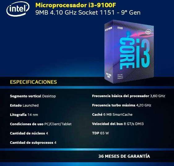 Pc gamer intel core i3-9100f + 8 gb ddr4 + 240 gb ssd