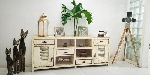 Vintage modular rack tv lcd plasma 2m madera rustica