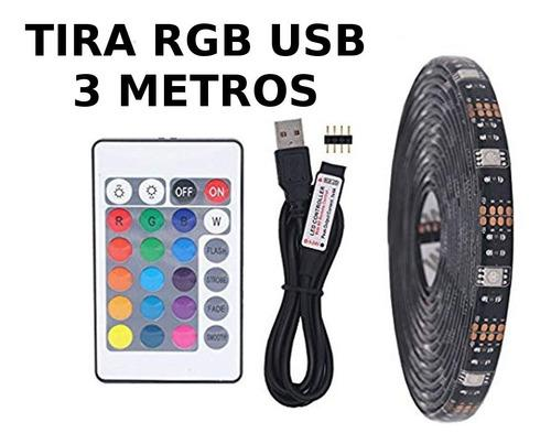 Tira luz led rgb usb 3m tv pc control remoto exterior tuning