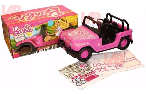 Jeep auto barbie original con stickers rosa bebe lelab