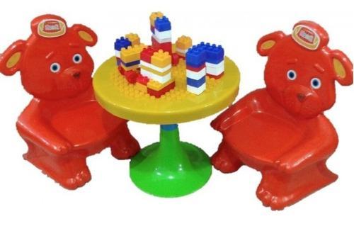 Mesa y 2 sillitas rondi osos con bloques para armar