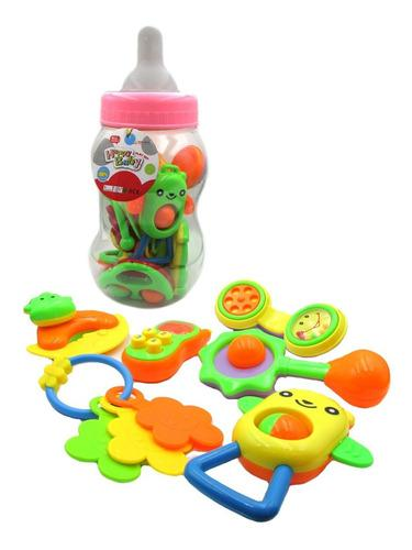 Set super mamadera mediano con sonajeros 6 piezas para bebe