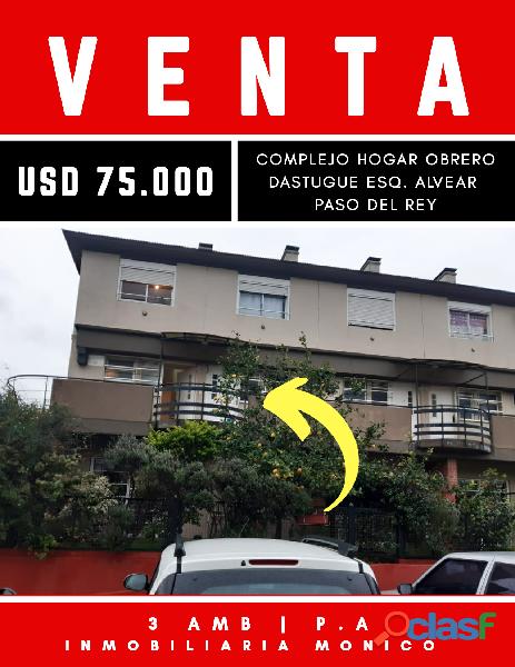 VENTA DE Dúplex DE 3 AMB Ubicado en en Barrio El Hogar Obrero. El complejo cuenta con seg