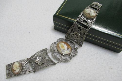 Antigua pulsera filigrana plata 925 camafeos tallados shell