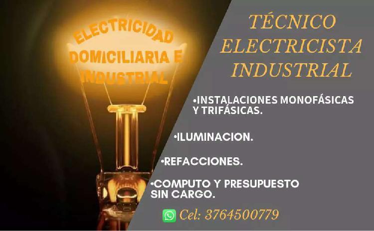 Electricidad domiciliaria e industrial.