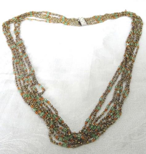 Lindisimo collar art deco antiguo mostacillas bronce y metal