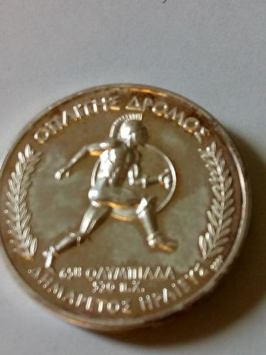 Medalla plata pura 999 olimpíadas grecia hoplitódromo