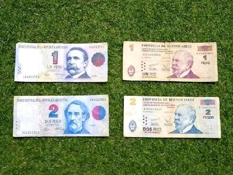 Billetes 1 y 2 pesos convertibles y su equivalente en