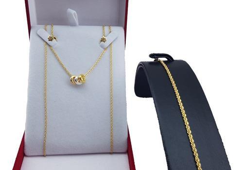 Combo collar donas mujer + pulsera + aros ench en oro 18 kt