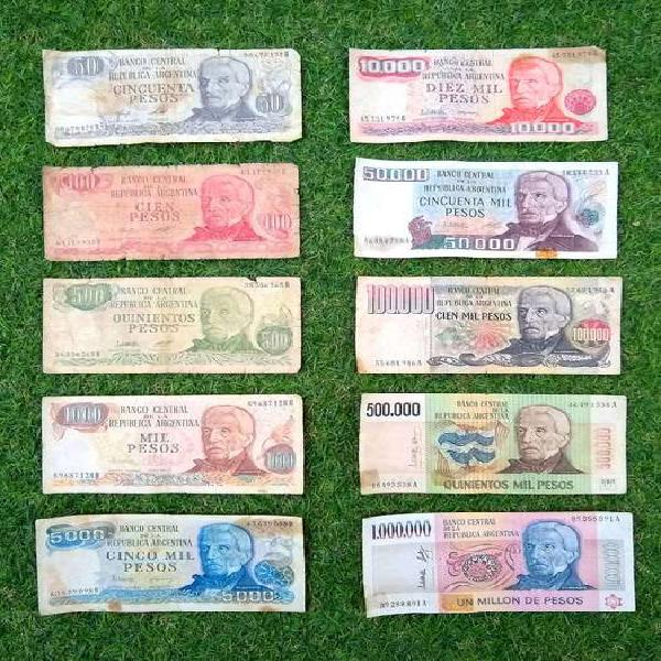 Serie completa billetes pesos ley 18.188 gral. san martín