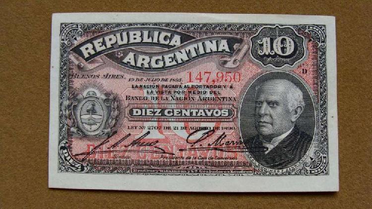 Billete de 10 centavos, argentina 1895